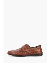 Коричневые кожаные туфли дерби от Pierre Cardin