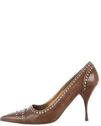 Коричневые кожаные туфли с шипами