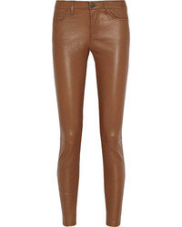 Коричневые кожаные узкие брюки