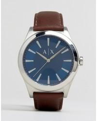 Мужские коричневые кожаные часы от Armani Exchange