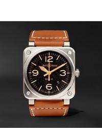 Мужские коричневые кожаные часы от Bell & Ross