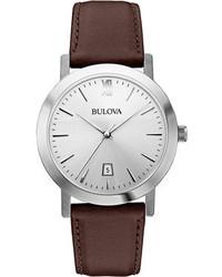 Женские коричневые кожаные часы от Bulova