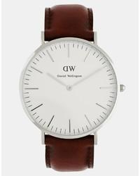 Мужские коричневые кожаные часы от Daniel Wellington