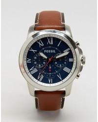 Мужские коричневые кожаные часы от Fossil