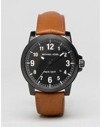 Мужские коричневые кожаные часы от Michael Kors