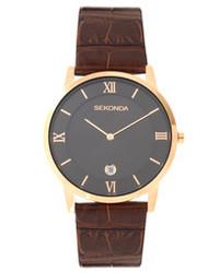 Женские коричневые кожаные часы от Sekonda