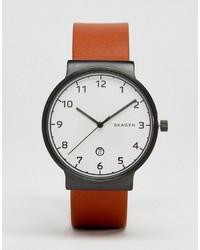 Мужские коричневые кожаные часы от Skagen