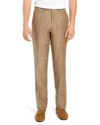 Коричневые льняные классические брюки
