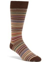 Коричневые носки в горизонтальную полоску