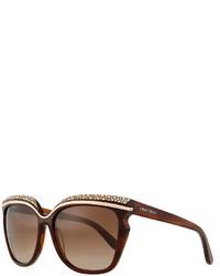 Коричневые солнцезащитные очки с украшением
