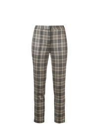 Коричневые узкие брюки в шотландскую клетку