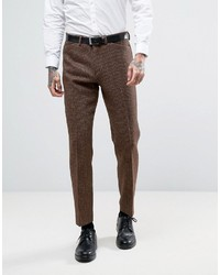 Мужские коричневые шерстяные классические брюки в мелкую клетку от Asos