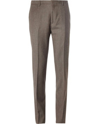 Коричневые шерстяные классические брюки