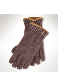 Коричневые шерстяные перчатки