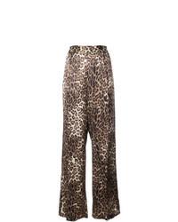 Коричневые широкие брюки с леопардовым принтом