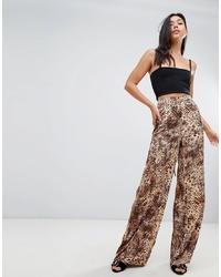 Коричневые широкие брюки с леопардовым принтом от Missguided