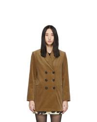 Коричневый вельветовый двубортный пиджак