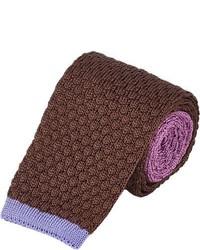 Коричневый вязаный галстук