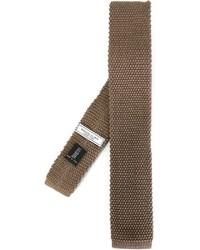 Мужской коричневый вязаный галстук