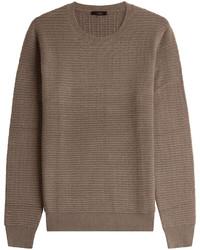 Коричневый вязаный свитер с круглым вырезом