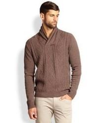 Коричневый вязаный свитер