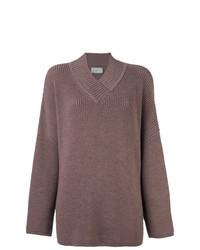 Коричневый вязаный свободный свитер