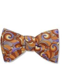 Коричневый галстук-бабочка с принтом