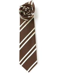 Мужской коричневый галстук в вертикальную полоску от Kiton