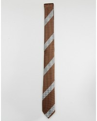 Мужской коричневый галстук в горизонтальную полоску от Asos