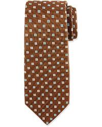 Коричневый галстук с принтом