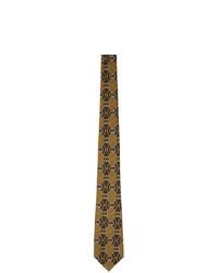 Мужской коричневый галстук с принтом от Gucci