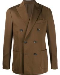 Мужской коричневый двубортный пиджак от Dell'oglio