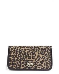 Коричневый замшевый клатч с леопардовым принтом