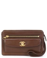 Женский коричневый клатч от Chanel