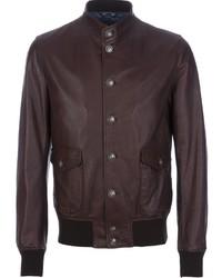 Мужской коричневый кожаный бомбер от Dolce & Gabbana
