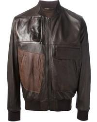 Мужской коричневый кожаный бомбер от Maison Martin Margiela