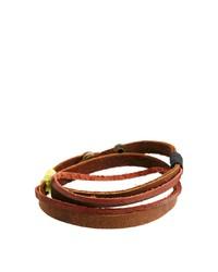 Мужской коричневый кожаный браслет от Classics 77