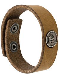 Мужской коричневый кожаный браслет от Diesel