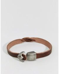 Мужской коричневый кожаный браслет от Jack and Jones
