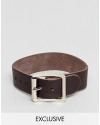 Мужской коричневый кожаный браслет от Reclaimed Vintage