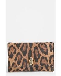 Коричневый кожаный клатч с леопардовым принтом