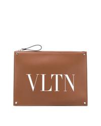 Мужской коричневый кожаный мужской клатч с принтом от Valentino