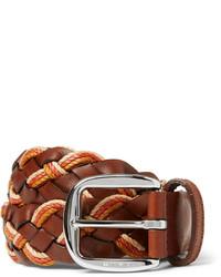 Мужской коричневый кожаный плетеный ремень от Etro