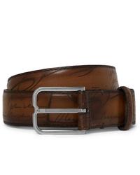 Мужской коричневый кожаный ремень от Berluti