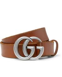 Мужской коричневый кожаный ремень от Gucci