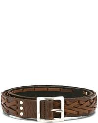 Мужской коричневый кожаный ремень от Saint Laurent