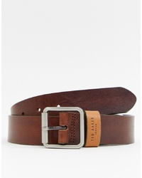 Мужской коричневый кожаный ремень от Ted Baker