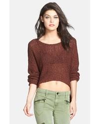 Коричневый короткий свитер