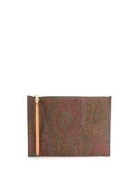 Коричневый мужской клатч из плотной ткани