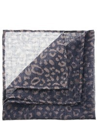 Коричневый нагрудный платок с леопардовым принтом